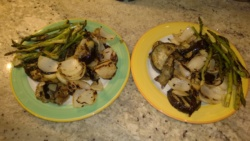 grilled eggplant, onions, and asparagus