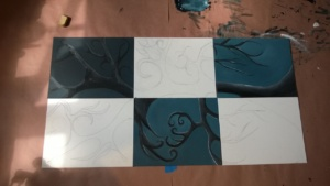 6 panel art project, 3 dark panels painted
