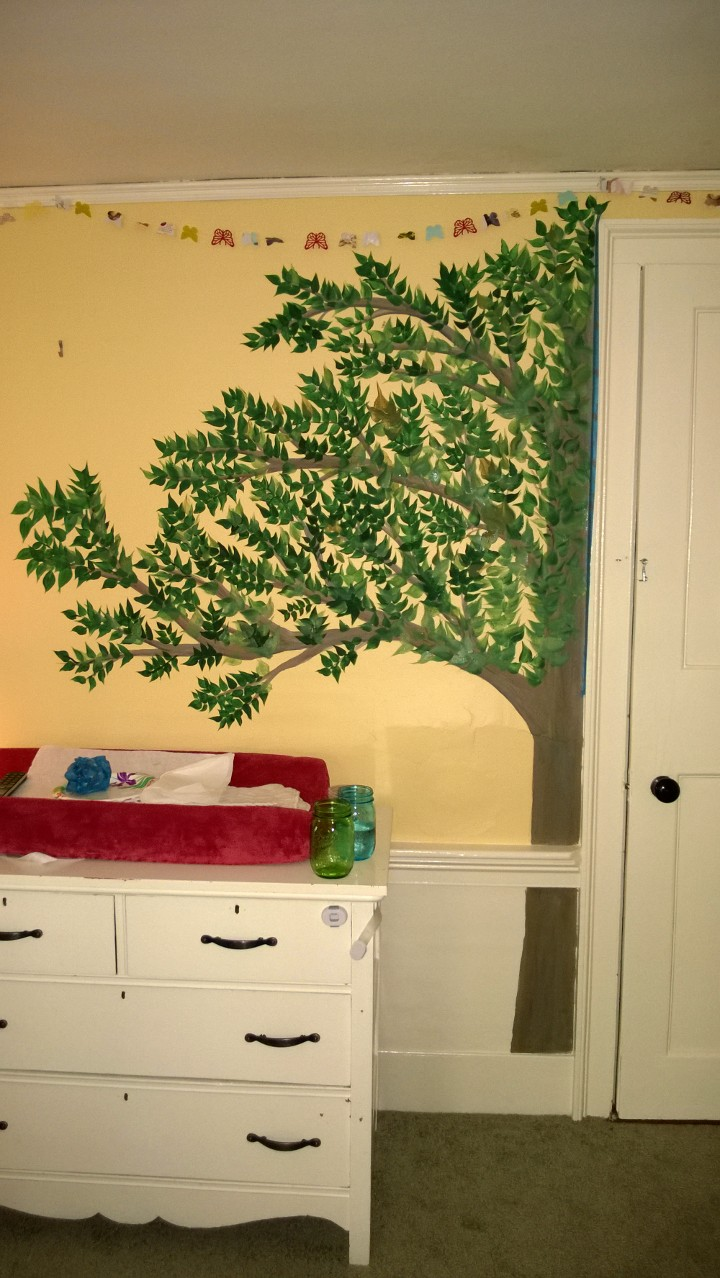 I Painted a Cherry Blossom Branch on Abbie\'s Wall! – ORBITED BY NINE ...