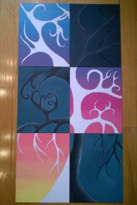 6 panel project - background of 3 light panels painted