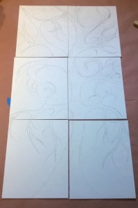 6 panel project tree sketched on 6 matching canvas boards