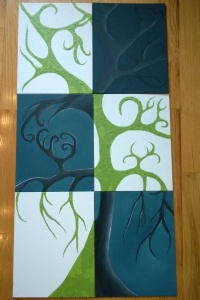 "6 panel art painting project - acrylic on 11X14"" canvas board"