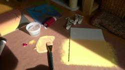 using my new paint brush to redo 3 of the panels