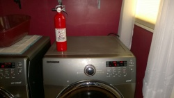 the dryer is actually working! always good to have a fire extinguisher around just in case