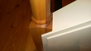 i primed & painted the wood filler after it dried. the newel post looks as good as new