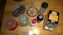 the items i removed from the kitchen for repurposing, tossing, or recycling