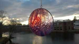 "decorative ""sunset glass"" stained glass circle"