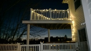 i strung LED christmas lights on our deck