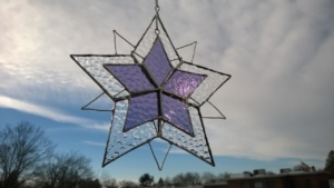 purple & clear bubble glass triangle snowflake stars layered