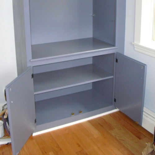 painting girl cave built in cupboard benjamin moore amethyst mist