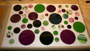 i cut 45 new stained glass circles!