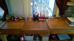 the girl cave workbench & work boards look fantastic after 2 coats of stain & polyurethane