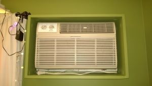 the living room ac box frame is a perfect fit on the wall!