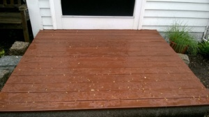the front stoop is very rain proof with 2 coats of new stain