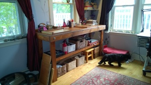 the workbench looks great now that it's completely stained