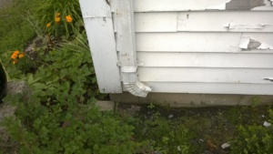 the gutter above the basement leak is pointed the wrong way!