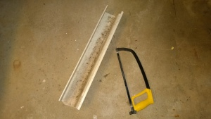 i used a hacksaw to cut a piece of old gutter to make a trough