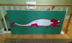 the chameleon mural after adding red
