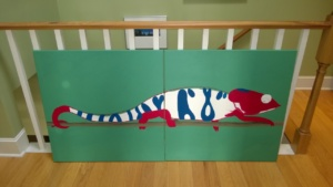 the chameleon mural with blue & red added