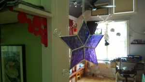 the purple stained glass star i made for jessica