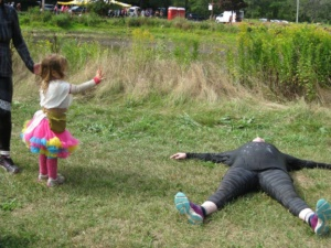 abbie's daughter claire trying to resurrect me after a 5k mud run