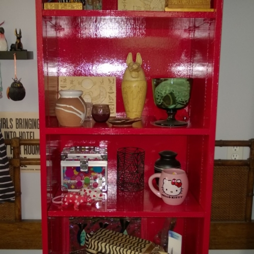 red bookcase in girl cave