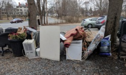 the pile of basement stuff i put in the driveway after the flood