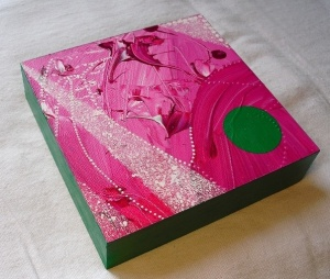 "pink & green painting for abbie's babies 2013 - acrylic on 6x6"" wooden block"