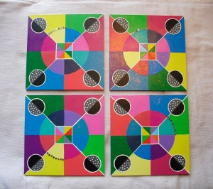"circle mosaic paintings 2013 - acrylic on 5x5"" gesso board"