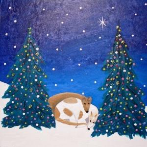 "deedee & otis painting for martha 2011 - acrylic on 6x6"" gesso board"
