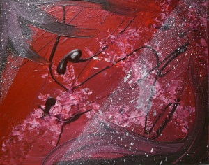 "red abstract painting 2009 - acrylic on 8x10"" canvas board w/ blood"