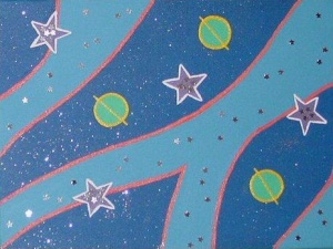 "planet painting for jonathan 2004 - acrylic on 5x7"" canvas board w/ metal stars"