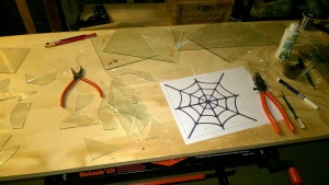 practicing cutting glass for my stained glass spiderweb