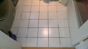 using polyblend grout renew to re-hue the old dark grout in the laundry room