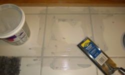 grouting the replacement tile in the master bathroom