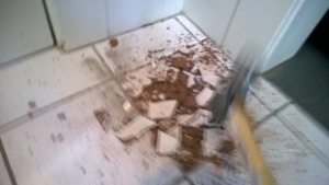 smashing the old tiles out of the front entrance hall with a ball peen hammer