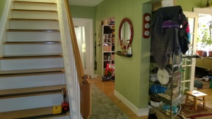 view of the downstairs hall and stairs, living room on right