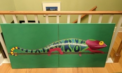 the chameleon mural after the eggshells were glue to it's back
