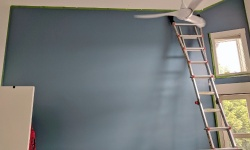 the bedroom accent wall painted benjamin moore blue nose