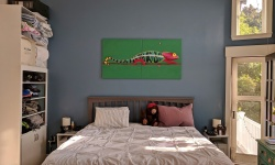 the chameleon mural looks fantastic on our newly painted bedroom wall