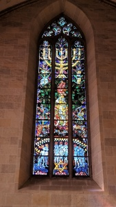 stained glass window inside the münster, ulm, germany