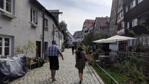 my german sister and brother-in-law walking in ulm, germany