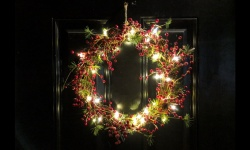 christmas wreath with white fairy lights