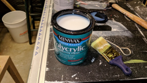 i added 2 coats of minwax polycrylic to the top of jim's 3-drawer cupboard
