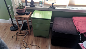 i let jim's 3-drawer cupboard cure for 5 days after painting