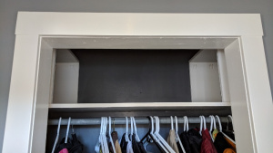 the new shelves are perfect and add space to our front hall closet