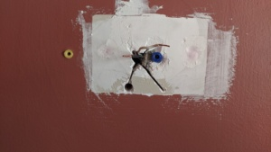 i patched the wall behind the dining room thermostat