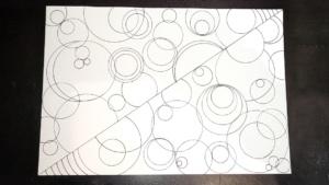 crayon art 4 - colored circles on diagonal and scalloped edges