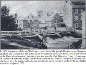 original ipswich river dam and riverwalk bridge 1828